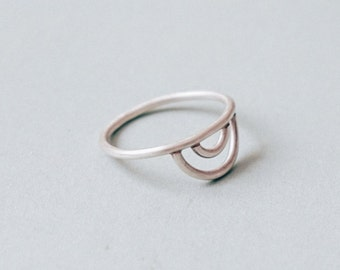 Half Circles Sterling Silver Minimalist Ring