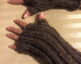 Fingerless Gloves with Thumb, Knitted in Brown Tweed