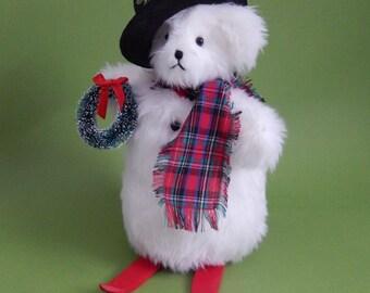 Snowball- Plush Christmas Snow Bear, stuffed animal teddy bear, plush winter bear, collectible Christmas bear gift, holiday bear decoration