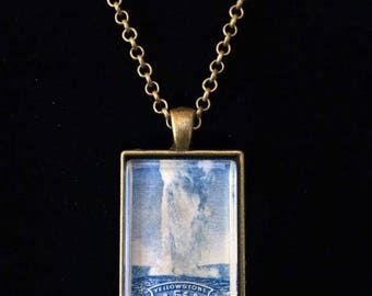 Yellowstone National Park Postage Stamp Necklace   Old Faithful   Wyoming   Western   Nature   Vintage stamp   Americana