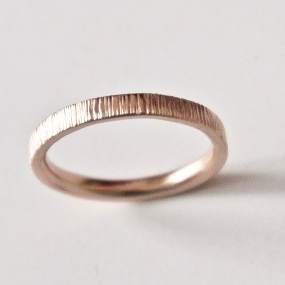 Rose Gold Wedding Band - Tree Bark Ring - Unique Wedding Ring  - Men's Wedding Band - Woodland Wedding - Rustic Wedding - 9 Carat Gold