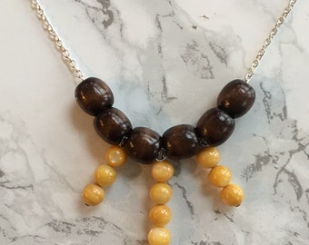 Wooden Bead Necklace- Glass Beads- Nature- Neutral