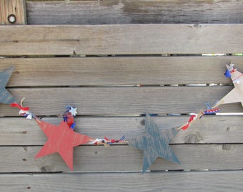 4th Of July Garland July 4th Star Garland Red White Blue Wooden Star Garland Fourth Of July Ribbon Garland Independence Day Star Garland