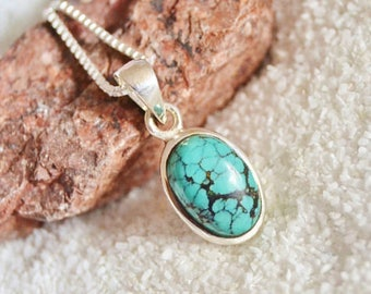 Turquoise necklace sterling silver jewelry pendant necklace oval pendant silver necklace arizona turquoise gift for women fine jewelry