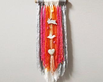 Boho Baby, Yarn Wall Hanging, Bohemian, Nursery Decor, Gray, Pink, Bunny, Bird, Heart Wall Art,