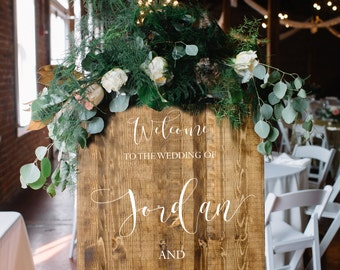 Rustic Oak Wedding Wooden SIgn - Welcome To The Wedding Of - Stained Wood Wedding Welcome Sign - Victoria Collection