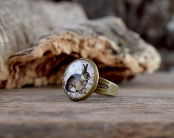 Bunny Ring, Rabbit Ring, Woodland ring, Easter Jewelry, Bunny jewelry, Rabbit Jewelry, Adjustable ring, Animal ring, Bunny lover gift WJ 002