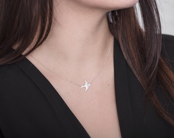 Swallow Necklace Sterling Silver Bird Necklace Delicate
