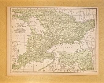 1926 - Ontario Map - Large Antique Map - Beautiful Old Map of Ontario - Large Vintage Map - Colorful Atlas Map - Gift - Home Decor