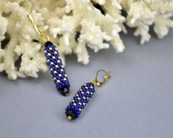 Dark blue earrings dangle earrings  seed bead earrings long beaded earrings beaded jewelry beadwoven earrings evening earrings Gift for her