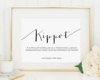 Kippot, Kippah, Yarmulke Sign, 4x6 Instant Printable Download for Wedding or Bar/Bat Mitzvah Signage