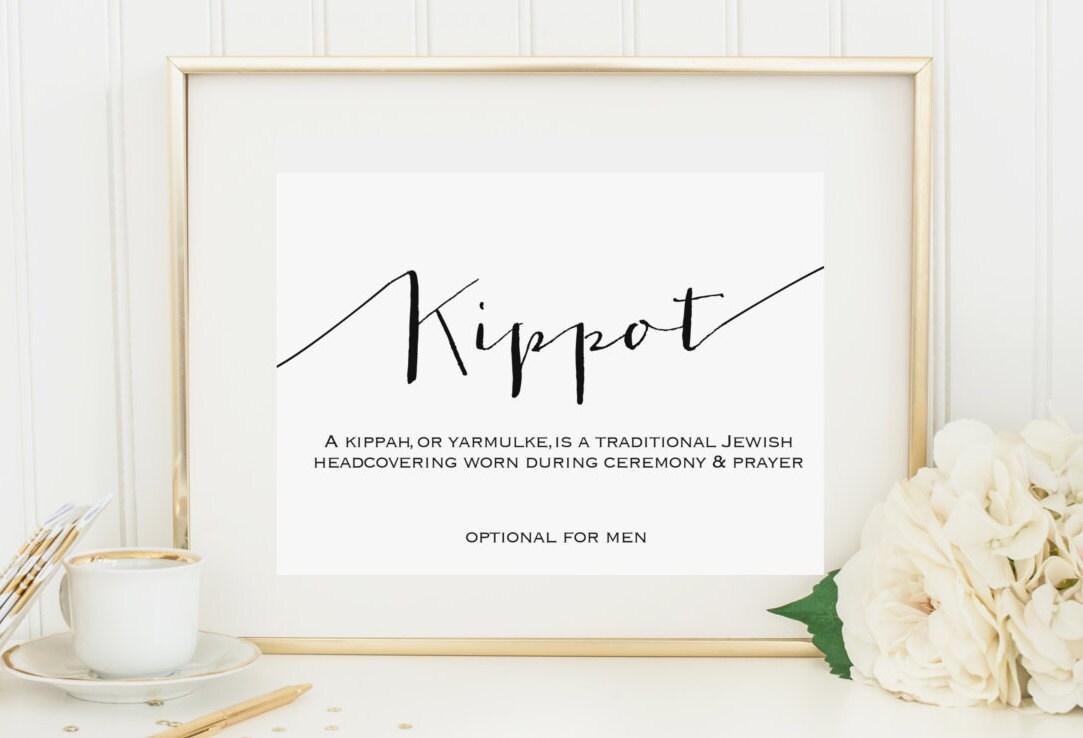 Kippot Kippah Yarmulke Sign 4x6 Instant Printable Download