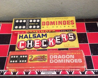 Vintage Halsam Dominoes and Checkers 1950s