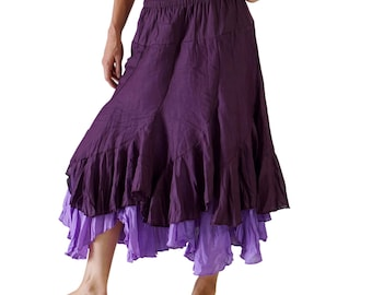 2 LAYER SKIRT Lt. Purple Bottom Layered Renaissance Skirt, Womens Pirate Costume, Festival Clothing, Sca Garb, Medieval, Ren Faire, Peasant
