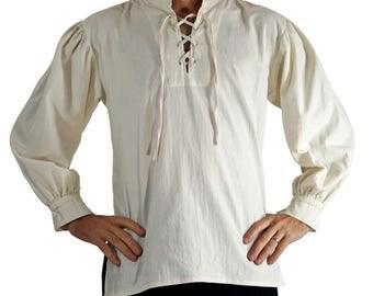 MERCHANT SHIRT High Collar CREAM - White Steampunk shirt, pirate costume,viking shirt, pirate tunic, renaissance costume, medeival clothing