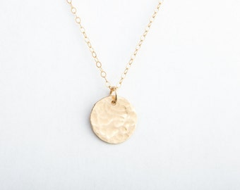 "Hammered Initial Necklace, 3/8"" (9.5mm), Gold Fill, Rose Gold Fill or Sterling Silver"