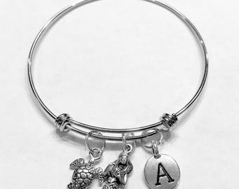 Gift For Her, Mermaid Sea Turtle Initial Bangle Bracelet, Nautical Bracelet Gift, Valentine Gift Wife Girlfriend Sister Mother Daughter
