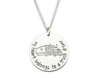 My heart belongs to a truck driver - trucker wife jewelry - i love my truck driver - truck driver wife jewelry - the road has my trucker