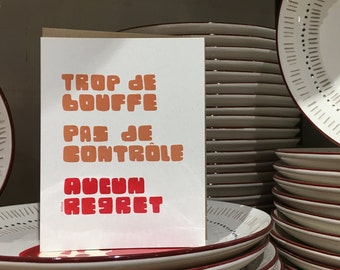 No regrets // Too much food - if such a thing - Holiday Greeting Card // Christmas, New Year, Holidays (Available in FR and EN)