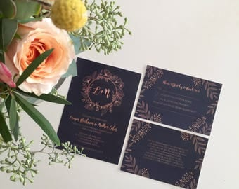 Custom Printable Wedding Invitation Set - Copper Calligraphy Design