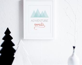 Adventure Art Print, Adventure Awaits Digital Print, Typography Art, Inspirational, Modern Nursery Art, Mint Peach Geometric