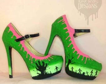 Zombie stompers! - Green gradient zombie shoes with dripping goo and the undead within a creepy graveyard / Zombies - Shoes - Goo - Horror.