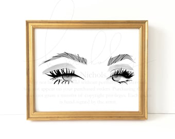 Sophia Lashes and Brows Print (Fashion Illustration Print)