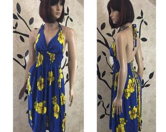 Halter dress, Floral dress, Summer dress, Blue and yellow dress, Cute dress, Pleated dress, Women's dress, Stylish dress