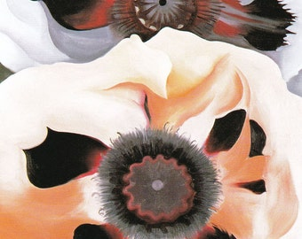 Georgia O'Keeffe American art vintage print Poppies red white flowers painting