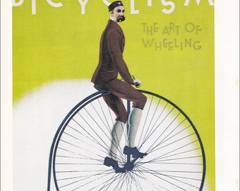 vintage London Transport Underground tube subway poster cycling cyclist science museum Kensington home decor print 7.75 x 12 in