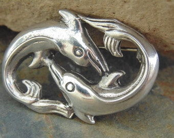 D'Molina ~ Vintage Mexican Sterling Silver Dolphins Swimming Around Each Other Pin / Brooch
