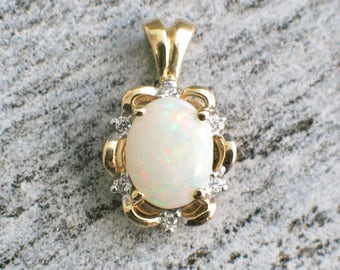 Opal and Diamond Vintage 14K Gold Pendant