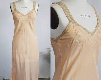 Vintage 1930s 1940s Blush Nightgown Or Slip /  30 40s Night Gown With Embroidery and Beige Lace Trim / Vintage Lingerie / Sleepwear / Pinup