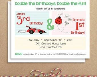 Party Invitations - Sibling Party Invitations - Birthday Party Invitations - Illustrated Invitations - Custom Invitations
