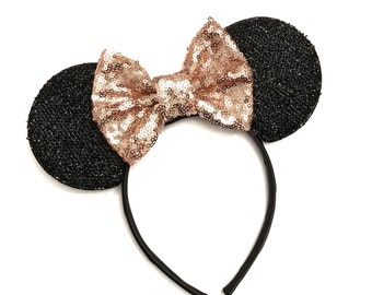 Rose Gold Minnie Mouse Ears - Mickey Mouse Rose Gold Ears - Sparkly Mickey Ears Headband - Sparkle Mouse Ears - Sparkle Minnie Ears - Minnie