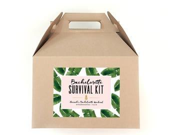Bachelorette Survival Kit Labels - Hangover Survival Kit - Tropical Bachelorette Bag Labels - Banana Leaf Print Bachelorette Favor Tags