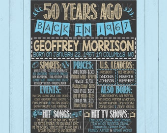 Back in 1967 Chalkboard Sign | Custom Birthday Chalkboard Poster | Any Age | Fun Facts | 50th Birthday | 50 Years Ago | *DIGITAL FILE*