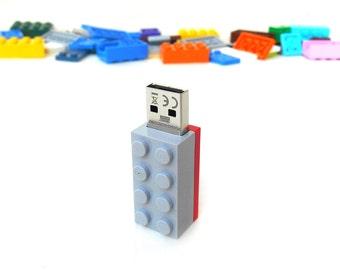 Lego usb flash drive 16GB USB - Memory Stick -  Lego® original usb Brick - Lego® 2x4 Brick - Lego® usb Grey Red -Duo Color bricks usb
