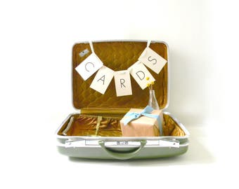 Vintage Green & Bronze Suitcase / Wedding Card Holder