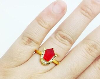 Goron ring zelda adjustable sterling silver legend of zelda goron's ruby ring plated in 18k gold