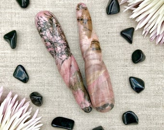 Rhodonite Twisted Yoni Wand - Pleasure Wand - Massage Wand - Crystal Wand - Rhodonite crystal - Crystal Dildo