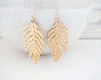 Matte Gold Leaf Statement Earrings