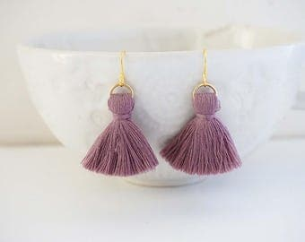 Dusty Rose Pink and Gold Chunky Tassel Earrings
