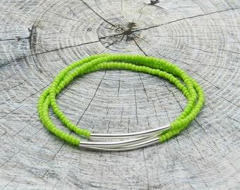 Lime Set Of 3 Bracelets, Stacking Bracelets, Beaded Bar Bracelet, Stretchy Bracelets, Gift For Her, Minimalist Bracelet, Boho Bracelet