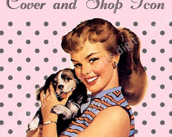 Cover banner and Shop Icon, Scruffy Puppy pin up. Instant download blank file, dog, 1950s theme, girl, pink and grey polka dots, retro, etsy