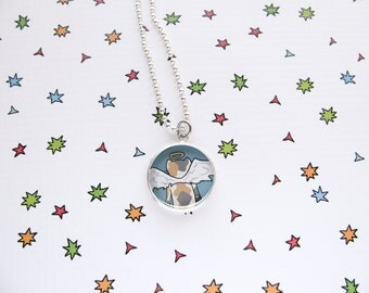 Cute Cat Necklace, Kitty Pendant, Dilute Calico Cat Jewelry, Angel Kitty, Pet Memorial, Kawaii Fashion, Fun Accessories, Cat Lover Gift