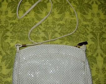 Vintage Whiting & Davis White Enamel Mesh Shoulder Bag Purse