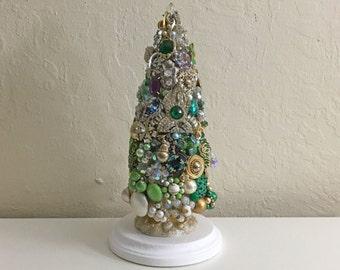 Christmas Tree, Vintage Jewelry Tree, Jewel Tree, Bottle brush tree, Decoration, Handmade, Shabby Chic