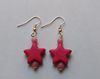 Pink Coloured Turquoise stone stars,  beaded dangly Earrings