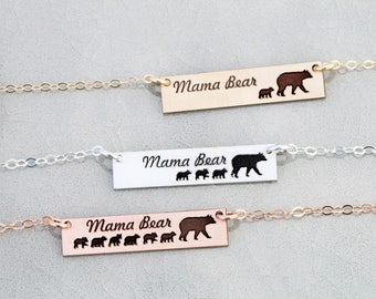 SALE • Mama Bear Necklace Bar • Gift Mother Necklace New Mom Gift • Bear Bar Sterling Silver Bear Cubs•Rose Gold Mama Gift Wife Present Her